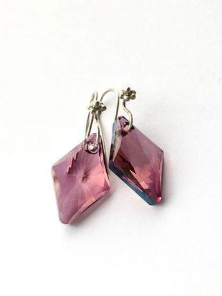 Swarovski Amethyst Rhombus Earrings