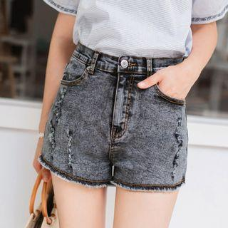 (SALES) Plus Size 4X Ripped Distressed Korean High-waist Acid Washed Shorts