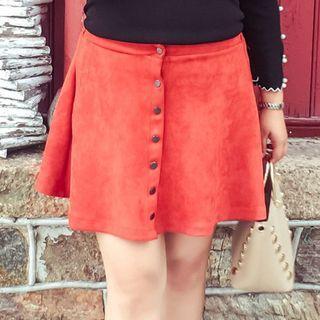 (SALES) Plus Size 3X Vintage Brown Red High-waist Korean Ulzzang Velvet Skirt