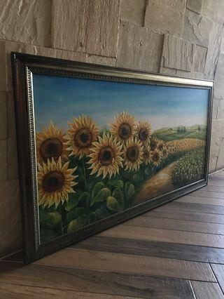 Hand drawn sunflower oil painting