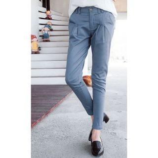 (SALES) Plus Size 4X Blue Gray Tailored Premium Classic Korean OL Skinny Pants
