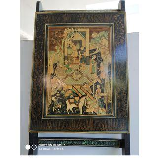 Intricate detailed hand-painted Indian lacquered wood art