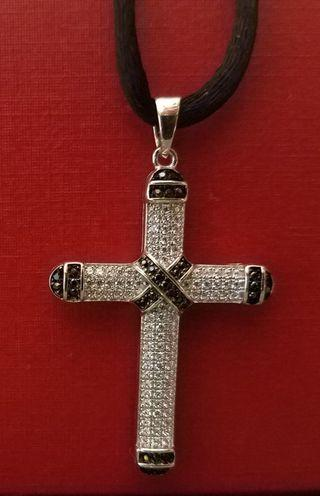 925包18k 白金男裝十字架吊墜