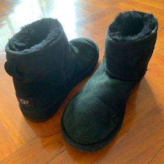 100%real UGG EU36 UK3.5 USA5 JAPAN22 黑色 短靴 雪靴 毛毛靴 毛毛鞋 真羊毛 保暖 wool black snow real wool boots boot shoes shoe flu momo mo blk Woolen shoes