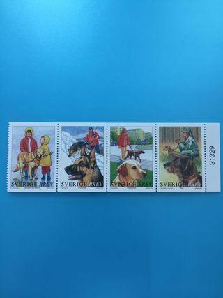 外國郵票—瑞典狗狗郵票