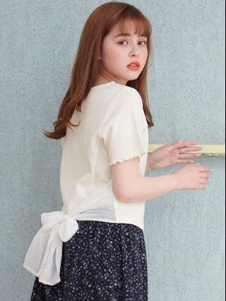 🚚 全新 日本 majestic legon 正品原單 背後下擺拼接絲緞網紗蝴蝶結短袖捲邊甜美上衣 T恤 象牙白 粉色 現貨
