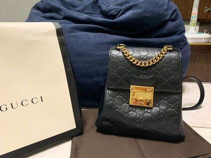 正品Gucci padlock guccissima牛皮壓紋後背包
