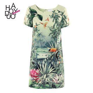 Haoduoyi 春季新款女裝 歐美时尚熱帶雨林花卉印花短袖 涼感 連衣裙