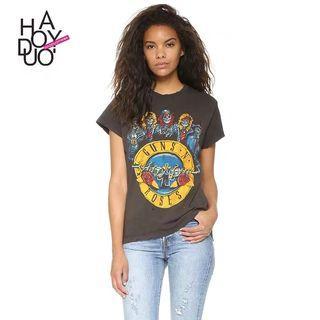 Haoduoyi原宿槍炮與玫瑰槍花印花顯瘦運動T恤短袖打底体恤女 短袖 骷髏頭