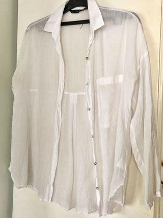 Zara White Oversized Shirt