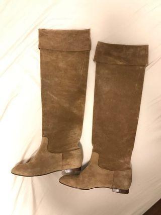 🚚 Chloe 駝色麂皮過膝平底長靴