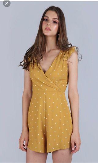 BNWT TTR Yellow Mustard Polka Dot V neck Overlap Kimono Wrap Romper #amplifyjuly35