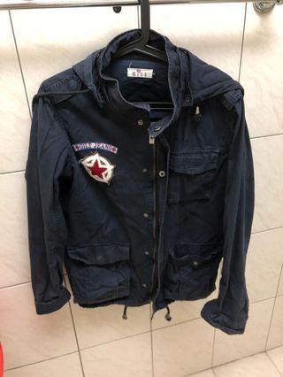 仿軍外套樣式 深藍色外套 二手 古著