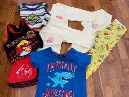 12 months baby boy clothes/ long sleeves/ sleeveless