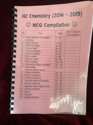 🚚 H2 Chemistry mcq complication 2014-2015 A levels JC