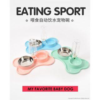 Pet Automatic Drinking Dispenser Non Slip Double Food Water Bowl