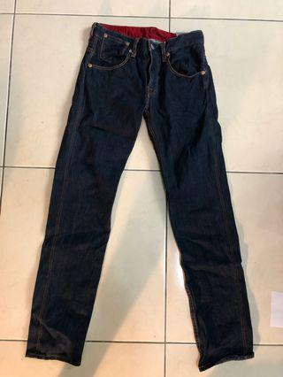 Levi's 牛仔褲 深藍色長褲 二手 修身褲