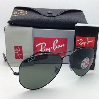 UV100 % Ray Ban RB3025 002/58 Aviator Polarized All Black 58mm