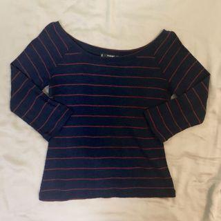 MANGO 1/2 Sleeve Stripes Knit Top