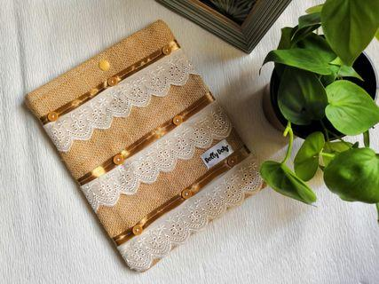 Vintage Lace Button Handmade Booksleeve