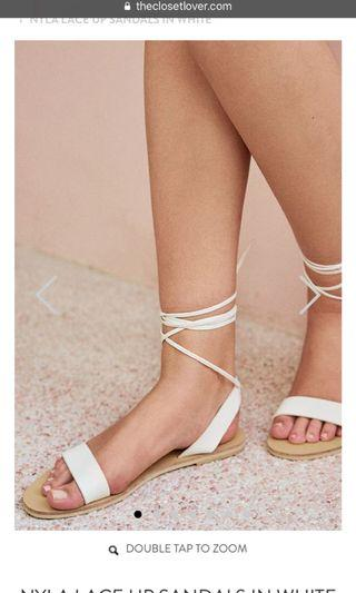 Tcl Nyla Lace Up Sandals in White