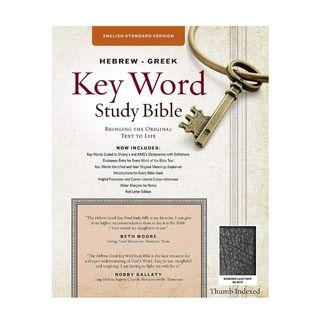 [PO] ✝️ The Hebrew-Greek Key Word Study Bible: ESV Edition, Black Bonded Leather Thumb Indexed