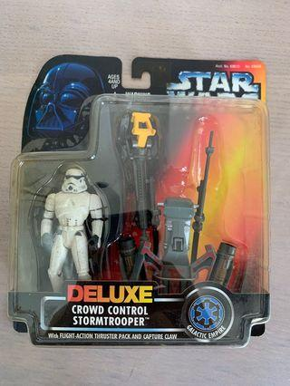 🚚 1996 Star Wars Deluxe  Crowd Control STORM TROOPER W Flight Action Thruster Pack