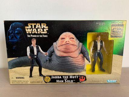 NIB 1997 Star Wars POTF2 Jabba The Hutt And Han Solo Special Edition Figure Set