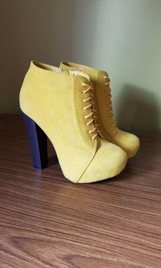 Yellow heeled boots