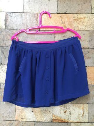 Celana Rok Kancing Blue