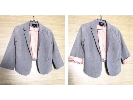 🚚 H&M Grey Formal Office Crop Blazer, trendy, stylish design jacket, smart casual work wear #MRTRaffles #MRTJurongEast