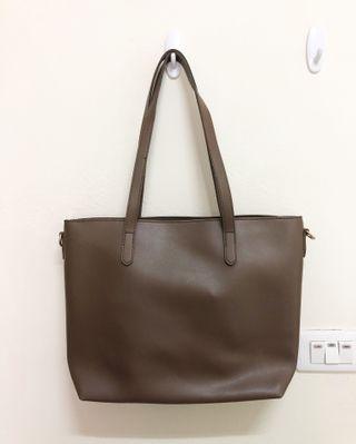 咖啡色托特包 側背包 斜背包