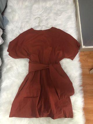髒橘色橙色咖啡色連衣裙