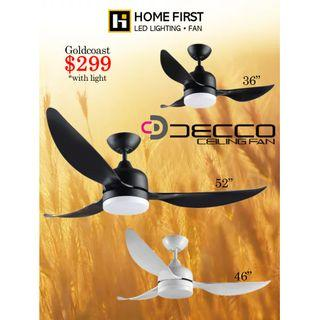 """DECCO GoldCoast DC Ceiling FAN With LED -36"""" 46"""" 52"""""""