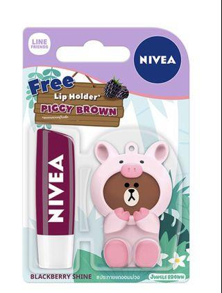 🚚 Nivea Blackberry Lip Balm with Line Holder - Piggy Brown