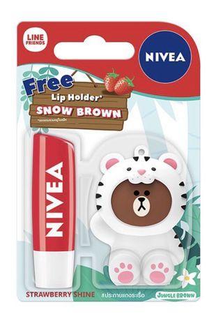 Nivea Strawberry Lip Balm with Line Holder - Snow Brown