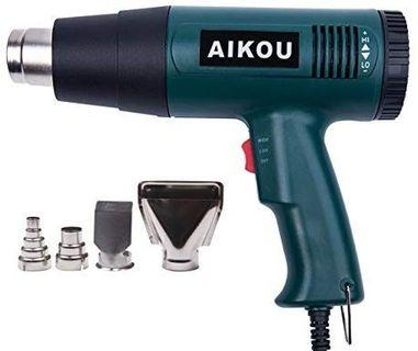 Heat Gun with 50℃~600℃ Adjustable Temperature and Air Flow Settings,Professional 1800W Hot air Gun for Stripping Paint,Shrinking PVC,Cleaning Grill, Bending or Soldering Pipes(Green)