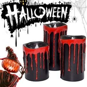 Halloween Candles, Flameless Candle LED Tea Lights with Timer, Bleeding Candles with 2 Modes Operation, Real Wax Candle for Home Decor&Festival Decorations,Set of 3 (Black)