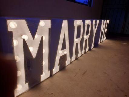 MARRY ME Marquee Lights for Proposal or EVENTS (RENT)