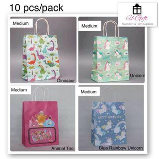 🚚 [PS]10 pcs/pack Medium Size Unicorn Dinosaur Animal Paper Bags