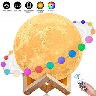 Item#172 - AGM 3D Printed 16 Colors LED Moon Light with Stand
