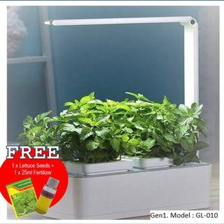 Smart Indoor Hydroponic Mini Herbs Garden With LED Grow Light. Comes with 1 free lettuce seed & 25ml fertilizer to start