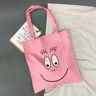 泡泡先生粉色帆布袋拉鍊款