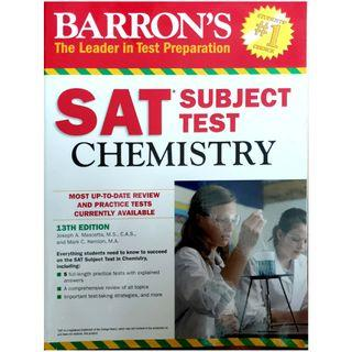 Barron's study guide for the SAT subject test in chemistry with 5 practice tests