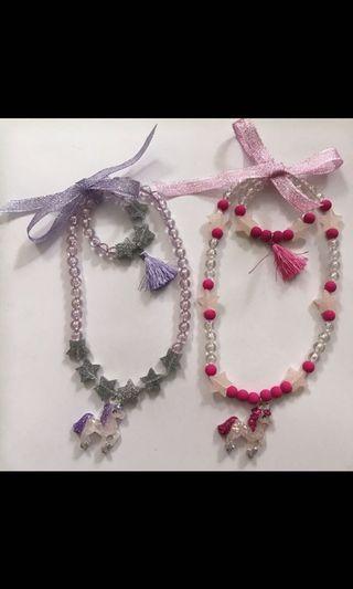 Necklace and bracelet 女童公主獨角獸手飾