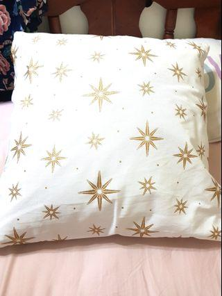 Cushion Covers - White with Gold Embossed Stars