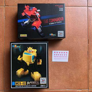Transformers KuBianBao KBB - Combat Commander (KO GT-05 GT05 Optimus Prime) (MISB) & MCS-02 Hornets Agent (aka Upsized Version of Newage NA Flipper Bumblebee) plus One Free Autobot Dry Decal Sticker Sheet