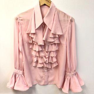 Marie Elie pink ruffles shirt size 36