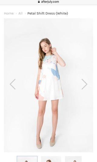 Afterjuly Petal Shift Dress in White