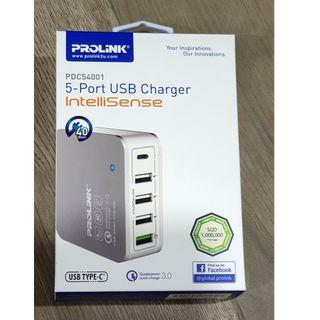 PROLiNK® PDC54001 40W 5-Port USB Travel Charger with IntelliSense
